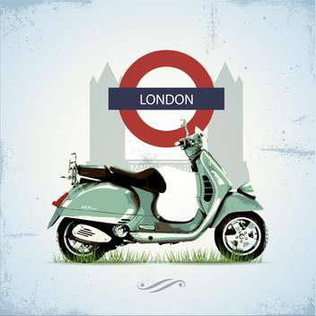 green vintage scooter in london - vector gratuit #133702