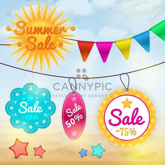 summer sale badges and labels - Free vector #133742