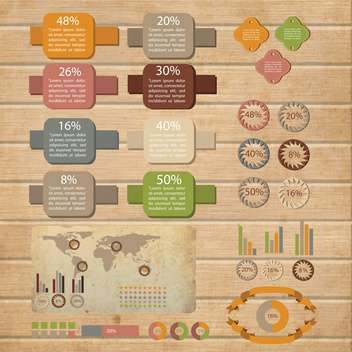 retro infographics set background - vector #133782 gratis