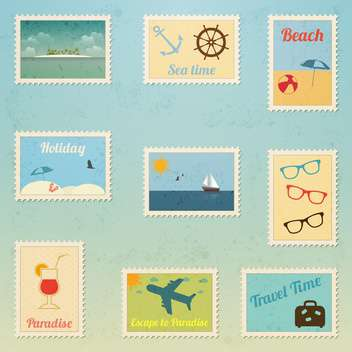 set of travel postage stamp - vector gratuit #134052