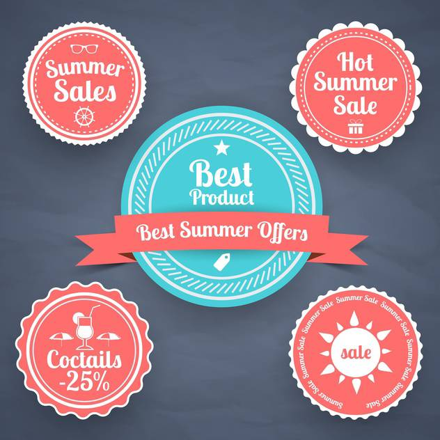 summer sale design emblems set - vector gratuit #134132
