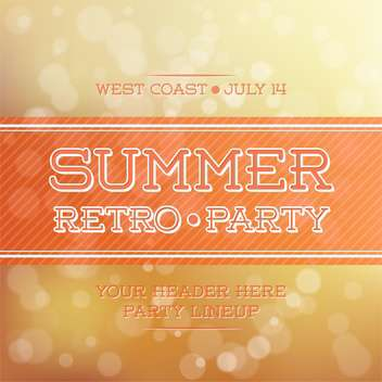 vintage summer party poster - vector gratuit #134172