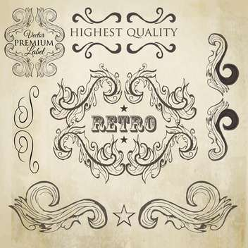 vintage design elements set - vector gratuit #134202