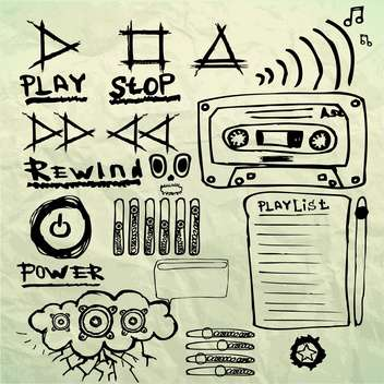 music sketched signs and symbols set - vector gratuit #134232