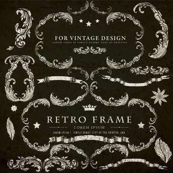 vintage design elements set - vector gratuit #134302