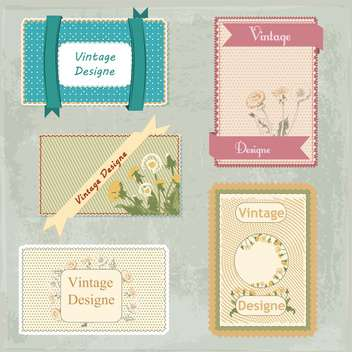 vector set of vintage frames with flowers - vector gratuit #134402