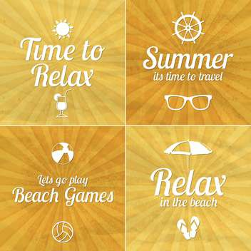 summer vacation cards set - vector gratuit #134442