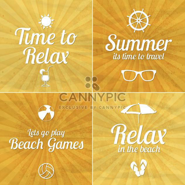 summer vacation cards set - Free vector #134442