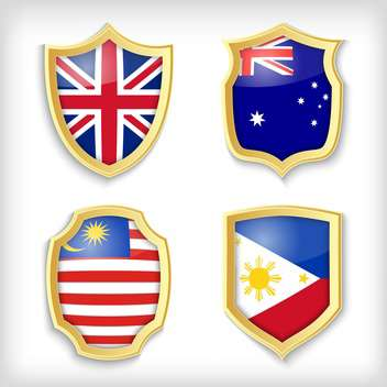 shield set background with countries flags - vector #134522 gratis