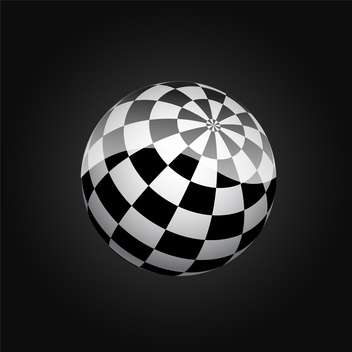 black and white abstract checkered sphere - vector gratuit #134792