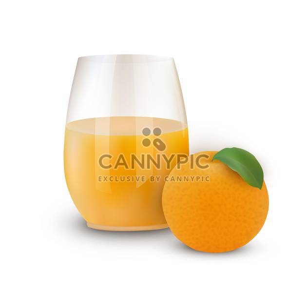 glass of juice with orange and leaf - Free vector #134822