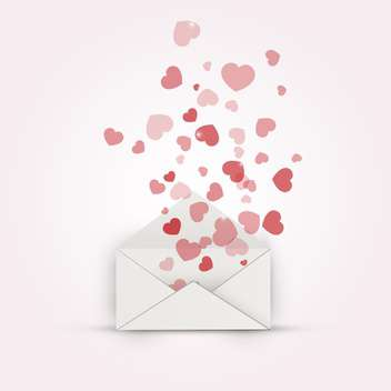 vector illustration of envelope with hearts - vector #134842 gratis