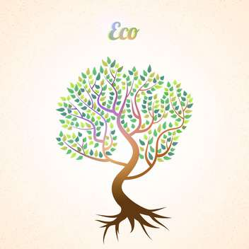 vector abstract tree with green leaves - vector gratuit #134932