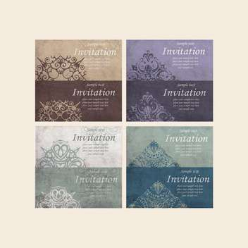 set of retro cards for invitation - vector gratuit #134962