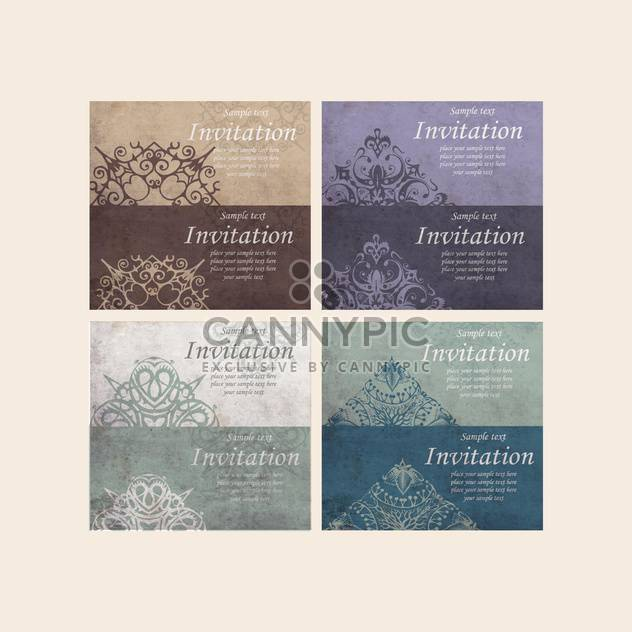 set of retro cards for invitation - Free vector #134962