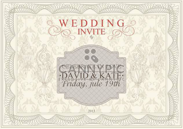 invitation or anniversary card with floral pattern - Free vector #135042