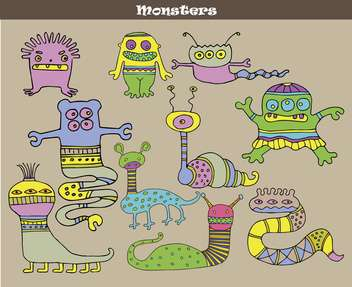 banner with multicolored cartoon monsters - vector gratuit #135072