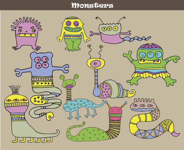 banner with multicolored cartoon monsters - vector #135072 gratis