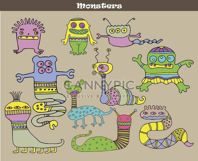 Banner mit bunten Cartoon Monster - Kostenloses vector #135072