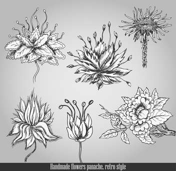 handmade flowers in retro panache style - Free vector #135092