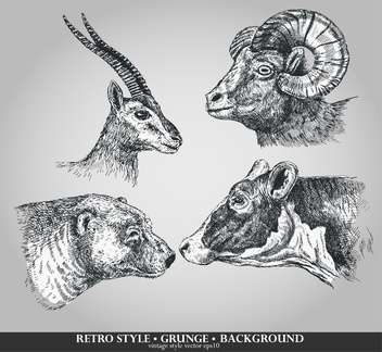 set of animals cow, sheep, goat and bear - бесплатный vector #135102