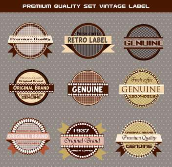 premium set of vintage labels on grey background - бесплатный vector #135142