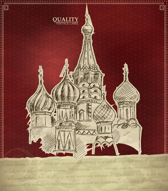 vintage style label with saint Basil Cathedral in Moscow - vector #135172 gratis
