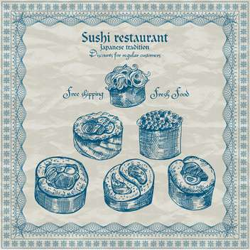 vintage sushi restaurant banner vector illustration - бесплатный vector #135202