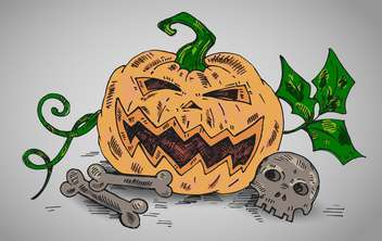 halloween holiday illustration with pumpkin and bones - vector gratuit #135262