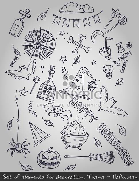 various decorative elements for halloween holiday - Free vector #135272