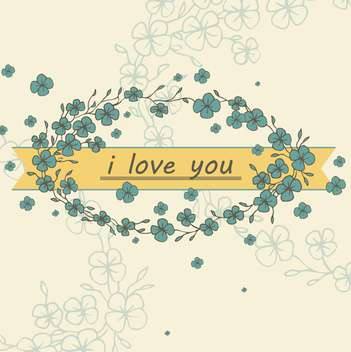 romantic card with blue flowers on yellow background - vector gratuit #135282