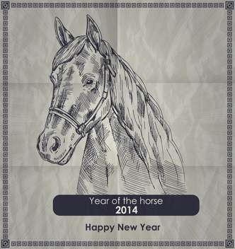 Year of horse vintage style poster - Free vector #135302